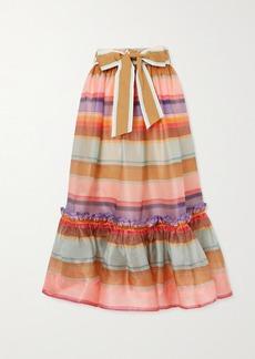 Zimmermann The Lovestruck Ruffled Striped Silk-organza Midi Skirt