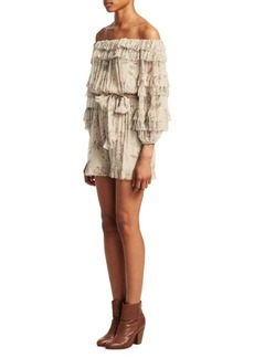 Zimmermann Unbridled Off-The-Shoulder Ruffle Romper