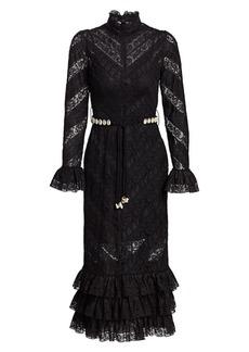 Zimmermann Veneto Lace Midi Sheath Turtleneck Dress