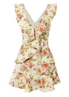 Zimmermann Watermelon Floral Flutter Dress