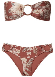 Zimmermann Wayfarer Ring-embellished Floral-print Bikini