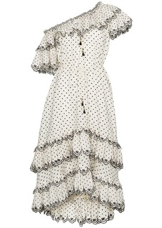 Zimmermann White jaya scallop tiered linen dress