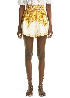 Women's Zimmermann Aliane Scalloped Linen Shorts
