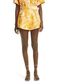 Women's Zimmermann Mae Belted High Waist Linen Shorts