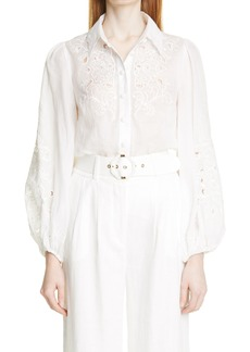Women's Zimmermann Nina Floral Embroidered Cutout Ramie Blouse