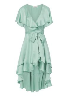Zimmermann Ruffle Wrap Blue Midi Dress
