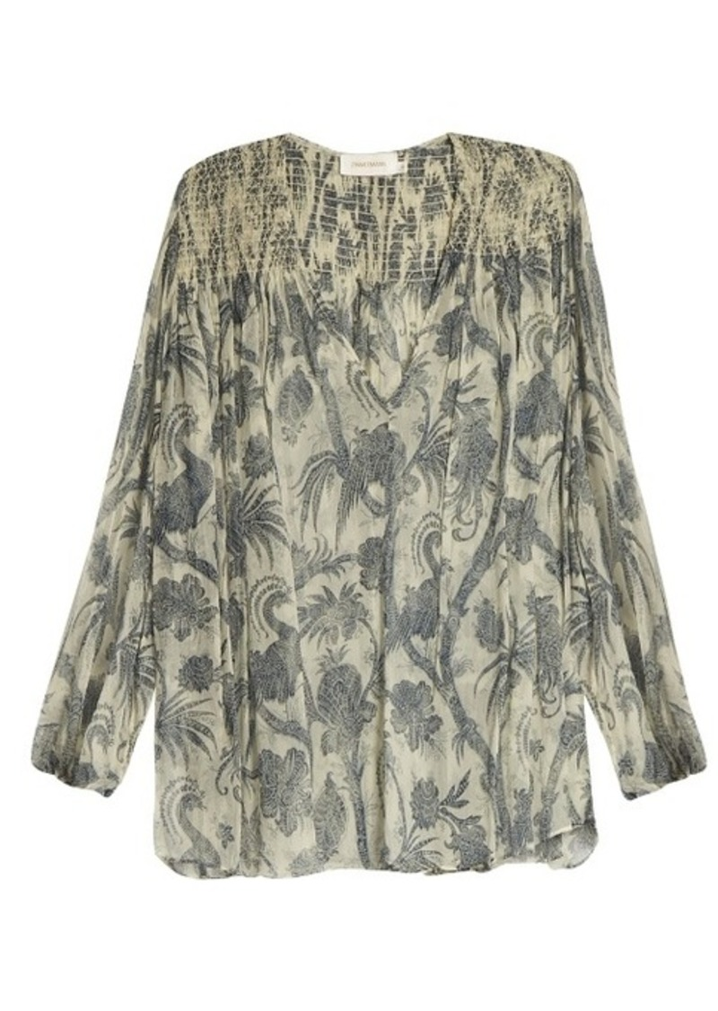 5a626f40785ec SALE! Zimmermann Zimmermann Adorn Bird Chintz-print silk-chiffon blouse