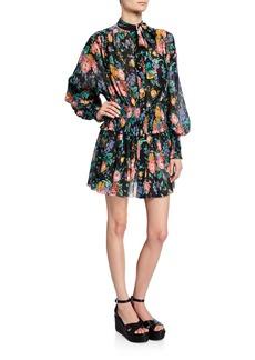 a2684a9ac9 Zimmermann Allia Floral-Print Tie-Neck Bishop-Sleeve Shirred Mini Dress