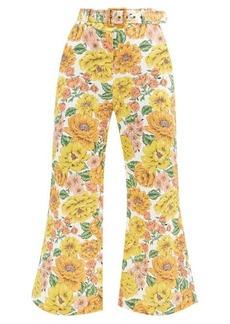 Zimmermann Belted poppy-print linen flared-leg trousers