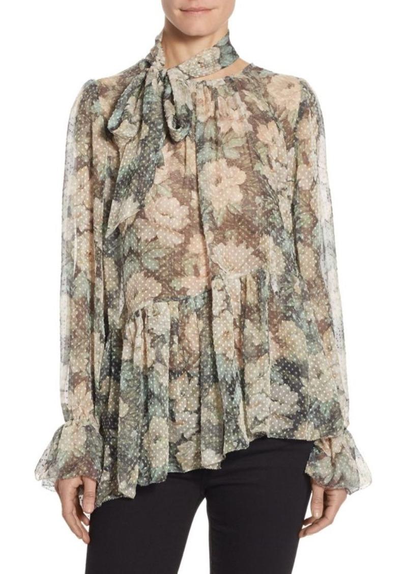 29ba60fa3aa781 Zimmermann Zimmermann Bowerbird Tie-Neck Floral-Print Silk Blouse ...