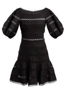 Zimmermann Bowie polka dot-embroidered linen-blend dress
