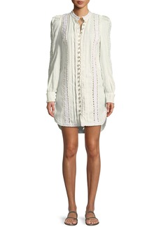 Zimmermann Breeze Corded-Lace Button-Front Long-Sleeve Linen Tunic