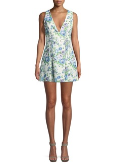 Zimmermann Breeze Lace-Up Sleeveless Fit-and-Flare Floral-Print Mini Dress
