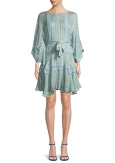 Zimmermann Breeze Veil Tonal-Striped Silk Short Dress