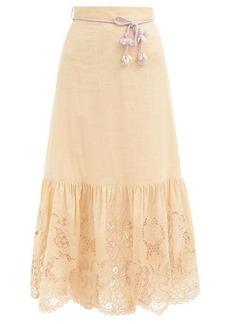 Zimmermann Brighton belted broderie-anglaise cotton skirt