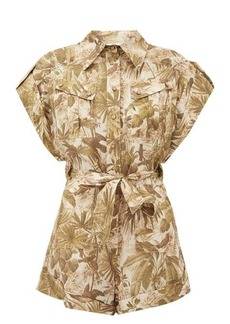 Zimmermann Brighton Palm-print belted linen playsuit