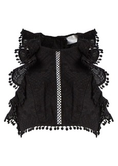 Zimmermann Caravan ruffled cropped top