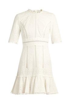 Zimmermann Caravan ruffled-hem embroidered cotton dress