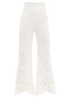 Zimmermann Carnaby guipure lace-panelled linen trousers