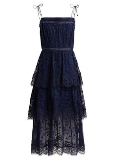 Zimmermann Castile tiered embroidered silk-chiffon dress