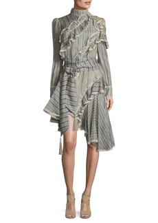 Zimmermann Cavalier Antique Striped Silk & Lenin Shirt Dress