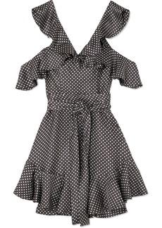 Zimmermann Cold-shoulder Ruffled Polka-dot Ottoman Mini Dress