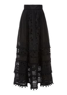 Zimmermann Corsage Embellished Silk-Linen Midi Skirt