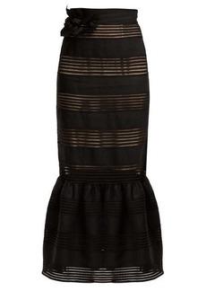 Zimmermann Corsage lace-insert linen skirt