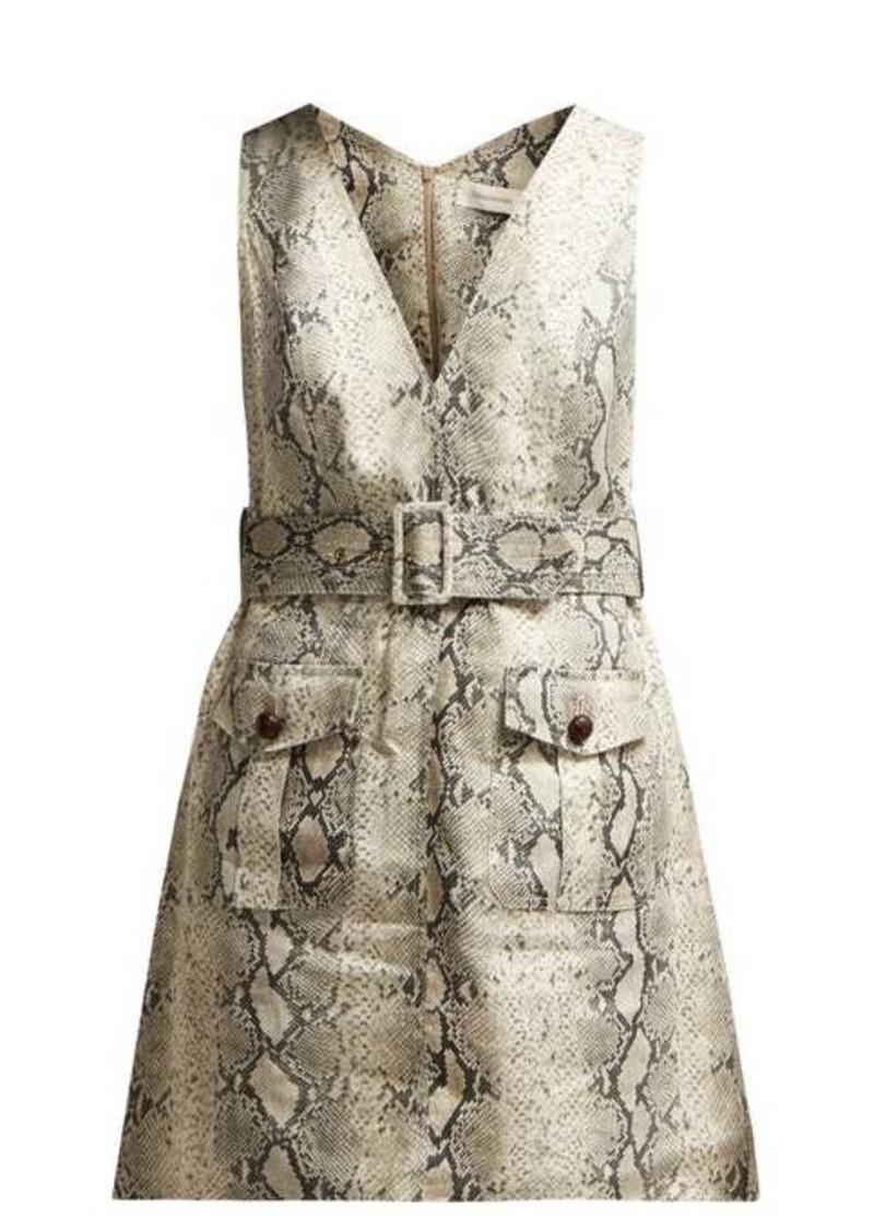 Zimmermann Corsage python-print linen mini dress