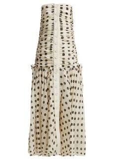 Zimmermann Corsage ruched polka-dot linen-blend dress