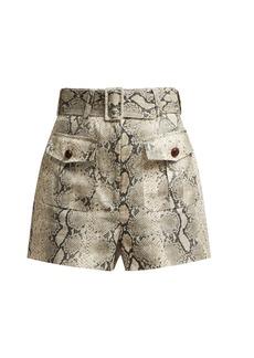 Zimmermann Corsage snake-print linen shorts