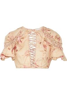 Zimmermann Corsair Flutter open-back crochet-trimmed floral-print linen top