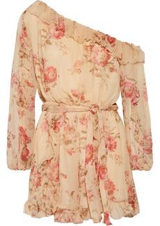 Zimmermann Corsair one-shoulder ruffled floral-print silk-georgette playsuit