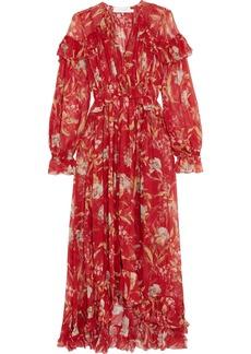 Zimmermann Corsair Ruffled Floral-print Crepon Midi Dress