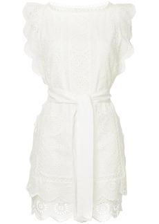 Zimmermann crochet stitched tie waist dress - White