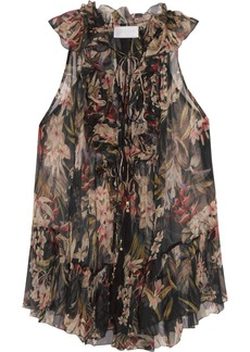 Zimmermann Curacao ruffled printed crinkled silk-chiffon blouse