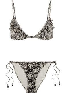 Zimmermann Divinity ruffled floral-print triangle bikini