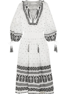 Zimmermann Divinity tassel-trimmed embroidered linen midi dress