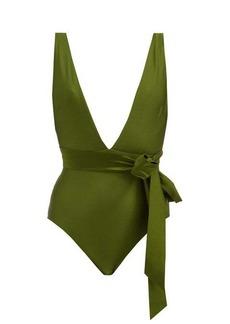 Zimmermann Empire plunge-neck bow-waist swimsuit
