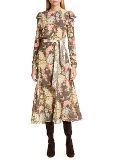 Zimmermann Espionage Floral Long Sleeve Ruched Stretch Silk Midi Dress