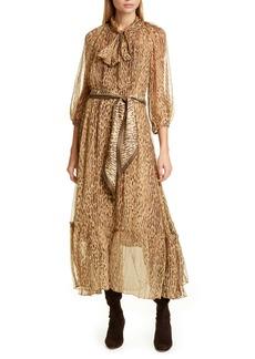 Zimmermann Espionage Leopard Print Tie Neck Silk Midi Dress