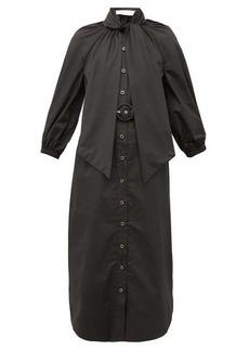 Zimmermann Espionage pussybow belted cotton shirt dress