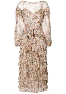 Zimmermann floral frill dress - Nude & Neutrals