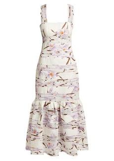 Zimmermann Floral-patterned linen maxi dress