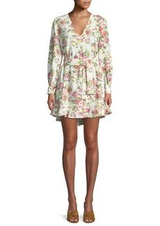 Zimmermann Flounce Belted Floral-Print Linen Dress
