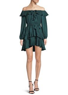 Zimmermann Flounce Off-the-Shoulder Silk Mini Dress