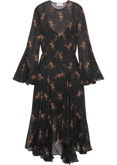 Zimmermann Folly floral-print Swiss-dot chiffon midi dress