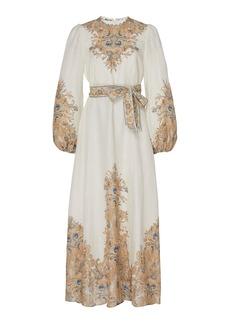 Zimmermann Freja Belted Paisley-Print Linen Maxi Dress
