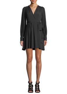 Zimmermann Golden Long-Sleeve Wrap Mini Dress