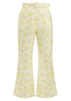 Zimmermann Goldie floral-print kick-flare linen trousers